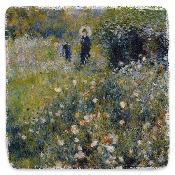 Žena se slunečníkem v zahradě