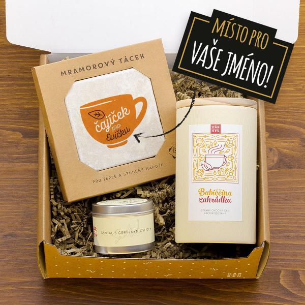 Dárkový balíček s ovocným čajem a svíčkou