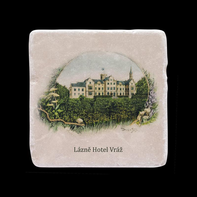 Mramorový tácek pro Lázně hotel Vráž s dobovou fotografií